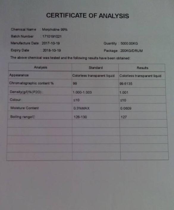 آنالیز مورفولین (Analysis of morpholin)