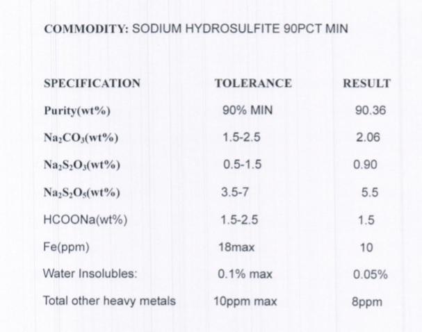انالیز هیدروسولفیت سدیم
